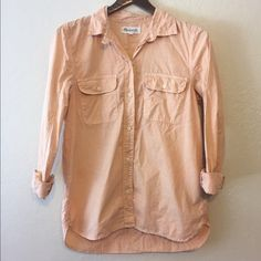 Madewell Lightweight Tomboy Workshirt Darling coral colored button down - perfect color for summer! Material is a sort off lightweight textured linen fabric. Slightly longer in back than in front. In excellent used condition. Madewell Tops Button Down Shirts