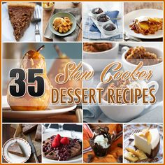 35 Slow Cooker Dessert Recipes Crock Pot Dessert Recipes - The Cottage Market ❤Italian†Mama❤ Slow Cooker Desserts, Crockpot Dessert Recipes, Crock Pot Desserts, Just Desserts, Delicious Desserts, Cooking Recipes, Yummy Food, Crockpot Meals, Breakfast Recipes