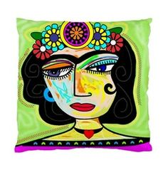 Frida Kahlo With Flowers On Green Background Art Cushion Cover