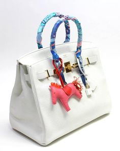 Hermès White Clemence 35cm  Birkin with Twlly and Rodeo Charm 3