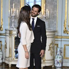Prince Carl Philip of Sweden and his fiancee Sofia Hellqvist held a private reception after their banns of marriage for invited guests in the presence of their parents.