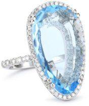 """Vitrine"" 22x12mm Pear Blue Topaz and Diamond Bezel Ring   Price: $4,400.00  http://astore.amazon.com/greabbirthstones-20/detail/B005AJSFSU"