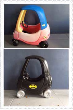 before and after of a coupe car transformed to the batmobile toddler fun