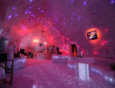 Spend a night cozied up in an ice hotel, in the Fagaras Mountains near Bucharest, Romania