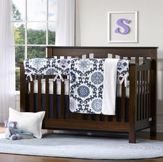 Navy Baby Bedding and Crib Bedding Sets by Liz and Roo #munire #pinparty #MadeinUSA