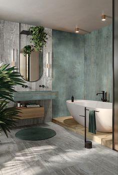 Badezimmer mit Travertin Optik Fliesen an Wand und Boden
