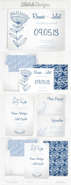 Lovely blue and purple flower invitation and save the date template. Cute patterns and liners as well. $9.00 - https://www.etsy.com/listing/177335766/diy-printable-word-template-2014