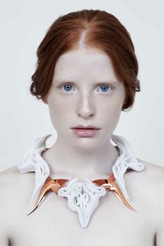 Copper metallics and sculpted fabric necklace - contemporary jewellery design; perfect symmetry; wearable art // Maryam Keyhani