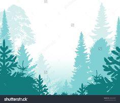 Pine Forest Background    - vector illustration
