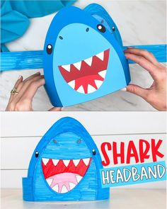 Make this easy and cool shark headband craft with our free printable template. It's great for summer time or Shark Week! Easy for preschool, kindergarten and elementary children. Summer Crafts For Toddlers, Summer Arts And Crafts, Halloween Crafts For Toddlers, Animal Crafts For Kids, Craft Activities For Kids, Crafts Toddlers, Easy Toddler Crafts, Daycare Crafts, Classroom Crafts