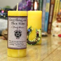 Dorothy Morrison's Wicked Witch Mojo Everything and Then Some Candle Candle Spells, Candle Jars, Yellow Candles, Wicca, Pagan, Magick, Morrisons, Wicked Witch, Bubble Envelopes