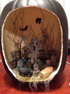 Haunted graveyard die-o-rama-Pumpkin diorama