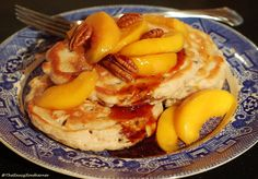 Buttermilk Pecan Pancakes with Vanilla Bourbon Peaches and Syrup (Meatless Monday) | The Saucy Southerner