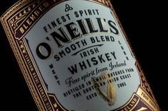 ThinkBoldStudio – O'Nneill's Irish whiskey Smooth blended Irish Whiskey, a double cask matured spirit. Distilled in small batches from the southern Irish coast. Whiskey Label, Whiskey Brands, Irish Whiskey, Whiskey Bottle, Whiskey Gifts, Whiskey Glasses, Whiskey Cocktails, Bourbon Whiskey, Beer Packaging