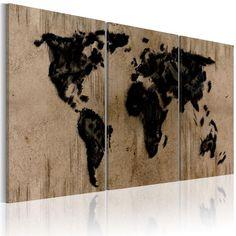 Quadro - Mappa del mondo nero inchiostro