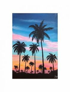 39 Ideas Palm Tree Silhouette Painting Canvases For 2019 Simple Canvas Paintings, Small Canvas Art, Mini Canvas Art, Acrylic Painting Canvas, Paintings Of Trees, Easy Canvas Art, Tree Canvas, Chalk Painting, Easy Paintings