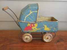 vintage tin litho toy baby buggy-cat-dog-duck
