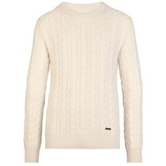 Burberry Cable Knit Wool Cashmere Sweater (1775 TND) ❤ liked on Polyvore featuring tops, sweaters, burberry, shirts, cable sweater, burberry shirt, burberry sweater and pink cable sweater