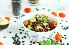 Black Bean Salad with Avocado and Grape Tomatoes. Use allowed bean, vegetables, seasonings, vinegar (if lemon reactive) and oil. Avocado Salad, Avocado Dressing, Tomato Salad, Vegetarian Recipes, Healthy Recipes, Easy Recipes, Healthy Snacks, Healthy Eating, Salad