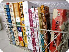 http://4.bp.blogspot.com/-sNsJrs0uzzw/UE6dAJcQkFI/AAAAAAAABJ8/NHlKL1lkerg/s1600/cookbooks.jpg  wire basket to display cookbooks
