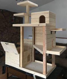 Cat Condo with dog proof litter box Dog Proof Litter Box, Hiding Cat Litter Box, Diy Litter Box, Diy Cat Tower, Cat Habitat, Cat House Diy, Cat Playground, Animal Room, Cat Enclosure