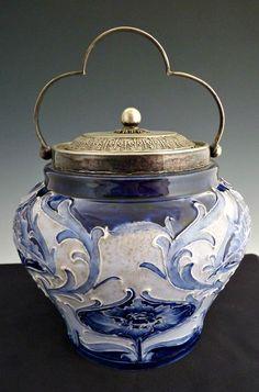 Florian Ware biscuit jar Moorcroft Pottery signed James MacIntyre produced between 1900-1906.