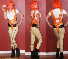 LeeLoo 5th Element Orange Suspenders Cosplay by threemusesclothing
