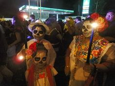 Merida Yucatan Mexico, people celebrating Day of the Dead on the streets.