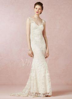 Brautkleider - $187.25 - Etui-Linie V-Ausschnitt Sweep/Pinsel zug Spitze Brautkleid (0025057947)