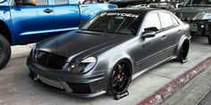 Mercedes E-class equipped with Prior Design Aero-kit & custom widened. Mercedes E-class equipped with Prior Design Aero-kit & custom widened. Looking at that MASSIVE IC, probably it& fast as well! Mercedes Clk 500, Custom Mercedes, Mercedes E Class, Cl 500, E55 Amg, Mercedez Benz, Honda City, Classic Mercedes, Dream Cars