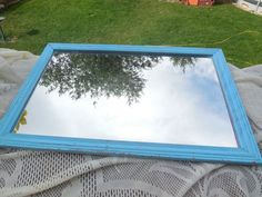 Vintage Blue Wall Mirror  : by Daysgonebytreasures on Etsy