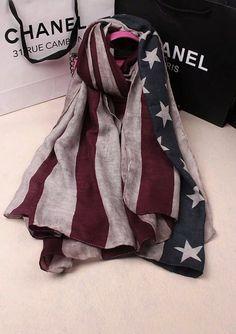 American Flag Print Rayon Ladies Long Scarves Shawls And Hijabs Stripe Print USA Flag Women Scarf Fashionable Winter Head Scarfs