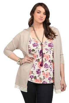 I like these two pieces together.  Tan Lace Trim Open Front Cardigan | Tops