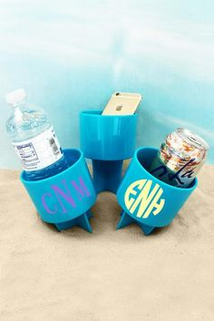 Just Spike It in the sand to keep your drink from spilling and to keep it sand free! Also great for holding your phone, music player, suntan lotion, and more to keep them off of the hot beach sand! Beach Weather, Suntan Lotion, Hot Beach, Drink Holder, Monogram Initials, Spring Break, Blueberry, Beverages, Fun