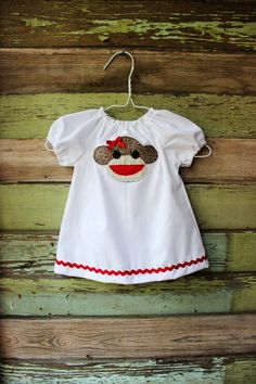 Sock Monkey peasant dress coming home outfit size newborn 0-3 3-6 6-12 months 2t 3t 4t 5 6  coming home outfit