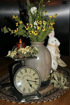 Old scale, crock, flowers and bunny - What's not to like?