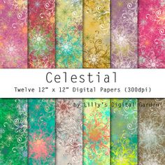 Flower Digital Paper CELESTIAL a modern by LillysDigiGarden, $2.40