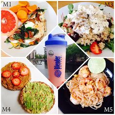 WIAT M1: mushroom & mozzarella omelette with sweet potato & grapefruit. M2: strawberry @fitnessguru one recovery. M3: quinoa salad topped with chicken & cottage cheese. M4: rice cakes topped with mashed avo & chilli flakes & almond butter, strawberry & bee pollen. M5: black tiger prawn phad Thai with rice noodles.