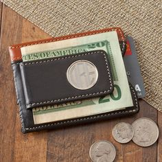 Two Toned Leather Magnetic Money Clip Wallet - expressionsgiftshop