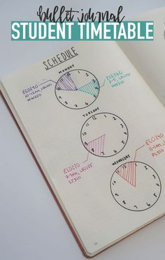 Bullet Journal STUDENT TIMESTABLE…Use clocks to keep track of your schedule so you're always on time 🙂 Source by katlynklepp Bullet Journal School, Bullet Journal Spread, Bullet Journal Layout, Bullet Journal Inspiration, Bullet Journal Ideas For Work, Bullet Journal For College Students, Bullet Journal Time Tracker, Bullet Journal Timetable, Bullet Journal Homework