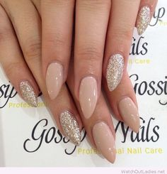 Long stiletto nude nails with glitter - http://watchoutladies.net/simple-classy-manicure/