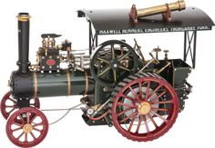 MAXWELL HEMMENS LIVE STEAM SCALE MODEL AGRICULTURAL TRACTION ENGINE  15-1/4 x 22 x 12-1/4 inches (38.7 x 55.9 x 31.1 cm)  Factory built Maxwell Hemmens 1.12 scale traction engine with fully authentic details including canopy, coal-fired copper boiler and gauges, finished in green and black paint with polished copper details and brightwork.