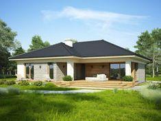 DOM.PL™ - Projekt domu FA OCEANIA CE - DOM GC6-28 - gotowy koszt budowy One Storey House, Modern Bungalow House, Stylish Bedroom, Exterior, Facade House, Gazebo, Garden Design, House Plans, Sweet Home