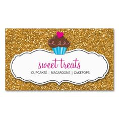 MODERN SWEET cute cupcake pink gold glitter Business Card. This is a fully customizable business card and available on several paper types for your needs. You can upload your own image or use the image as is. Just click this template to get started!