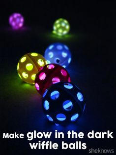 DIY Glow in the Dark Wiffle Balls! These are great for those summer (and winter) nights! Use them outdoors or inside! Great for adults, kids and pets! #diy #glow #balls