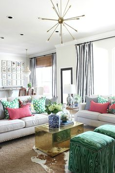 Spring Home Tour  ||  Dimples and Tangles  ||  Living Room with black and white striped drapes and colorful pillows