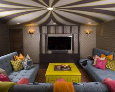 Basement movie room couch