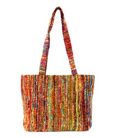 Loving this Red & Blue Silk-Blend Tote on #zulily by Rising Tide, $18 !!  #zulilyfinds