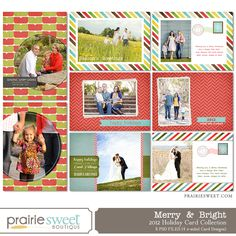 Merry & Bright – Holiday Cards - Christmas Cards - Photoshop Templates for Photographers - Prairie Sweet Boutique