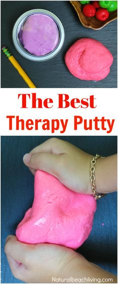 How to Make Therapy Putty The Best Stress Putty Recipe perfect sensory play therapy putty for special needs autism and working fine motor skills Best Sensory Dough Projects For Kids, Diy For Kids, Art Projects, Silly Putty Recipe, Diy Silly Putty, How To Make Putty, Homemade Putty, Homemade Paint, Therapy Putty